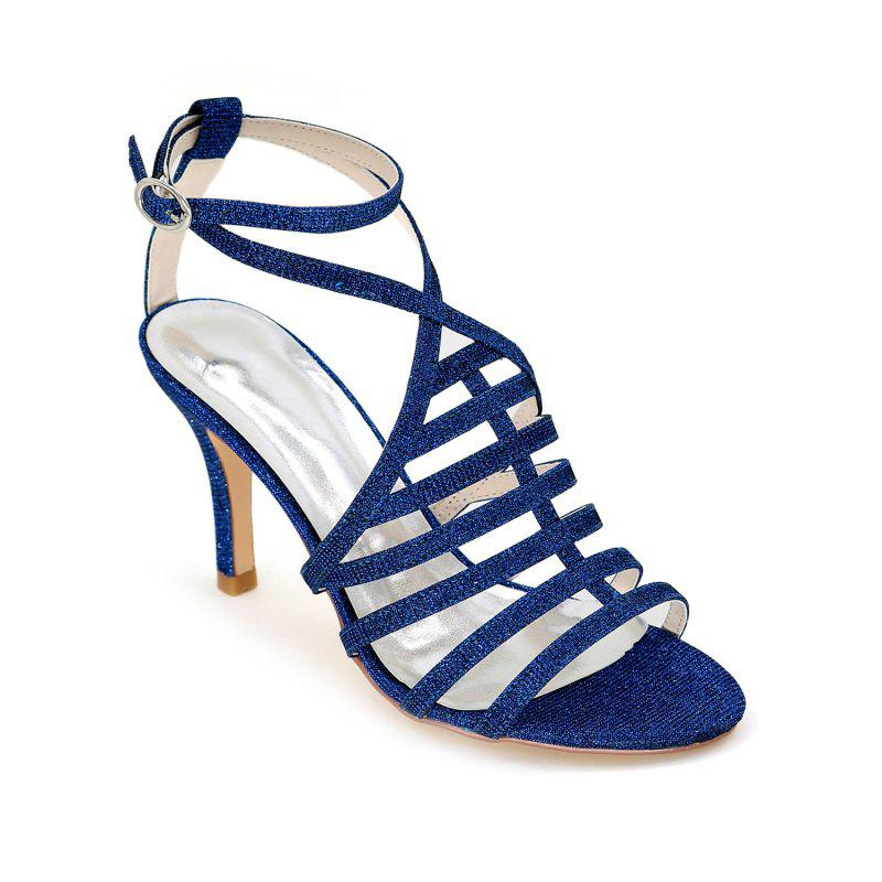 Ladies High Heel Roman Sandals - BLUE 38