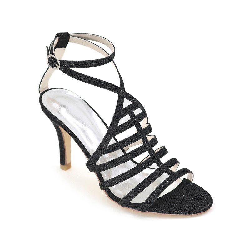 Ladies High Heel Roman Sandals - BLACK 40