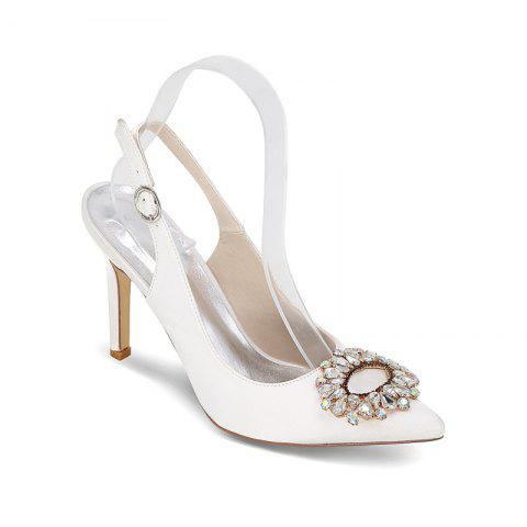 High Heels Pointed Diamond Wedding Shoes - WHITE 37