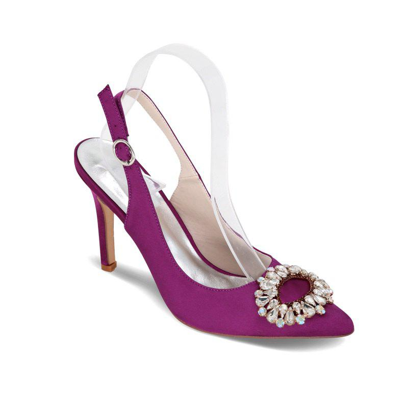 High Heels Pointed Diamond Wedding Shoes - PURPLE 39