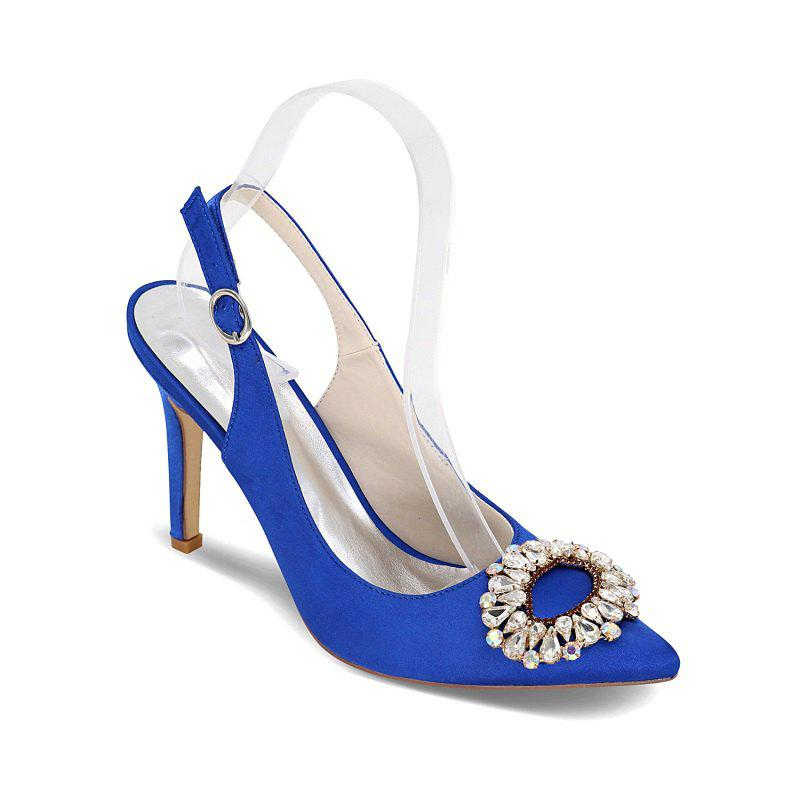 High Heels Pointed Diamond Wedding Shoes - BLUE 36