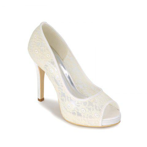 High Heel Waterproof Lace Fish Mouth Wedding Shoes - IVORY COLOR 35