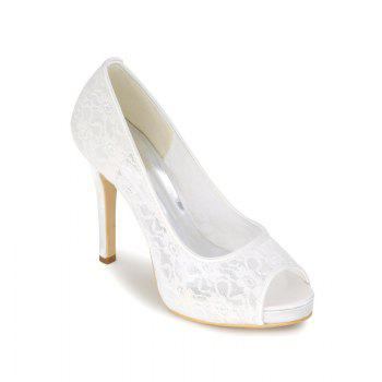High Heel Waterproof Lace Fish Mouth Wedding Shoes - WHITE WHITE