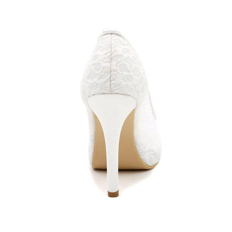 High Heel Waterproof Lace Fish Mouth Wedding Shoes - WHITE 36