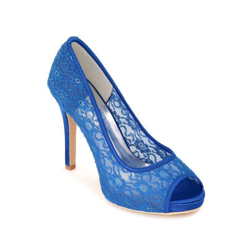 High Heel Waterproof Lace Fish Mouth Wedding Shoes - BLUE 37