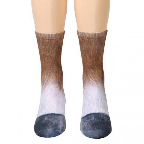 New Unisex Adult Animal Paw Crew Print Man/Women Socks - TAN