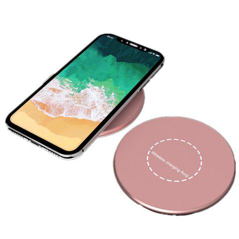 Portable Aluminum Alloy Wireless Charger Pad for iPhone X / 8/ 8 Plus / Samsung Galaxy Note 8 / S8 / S8Plus - ROSE GOLD