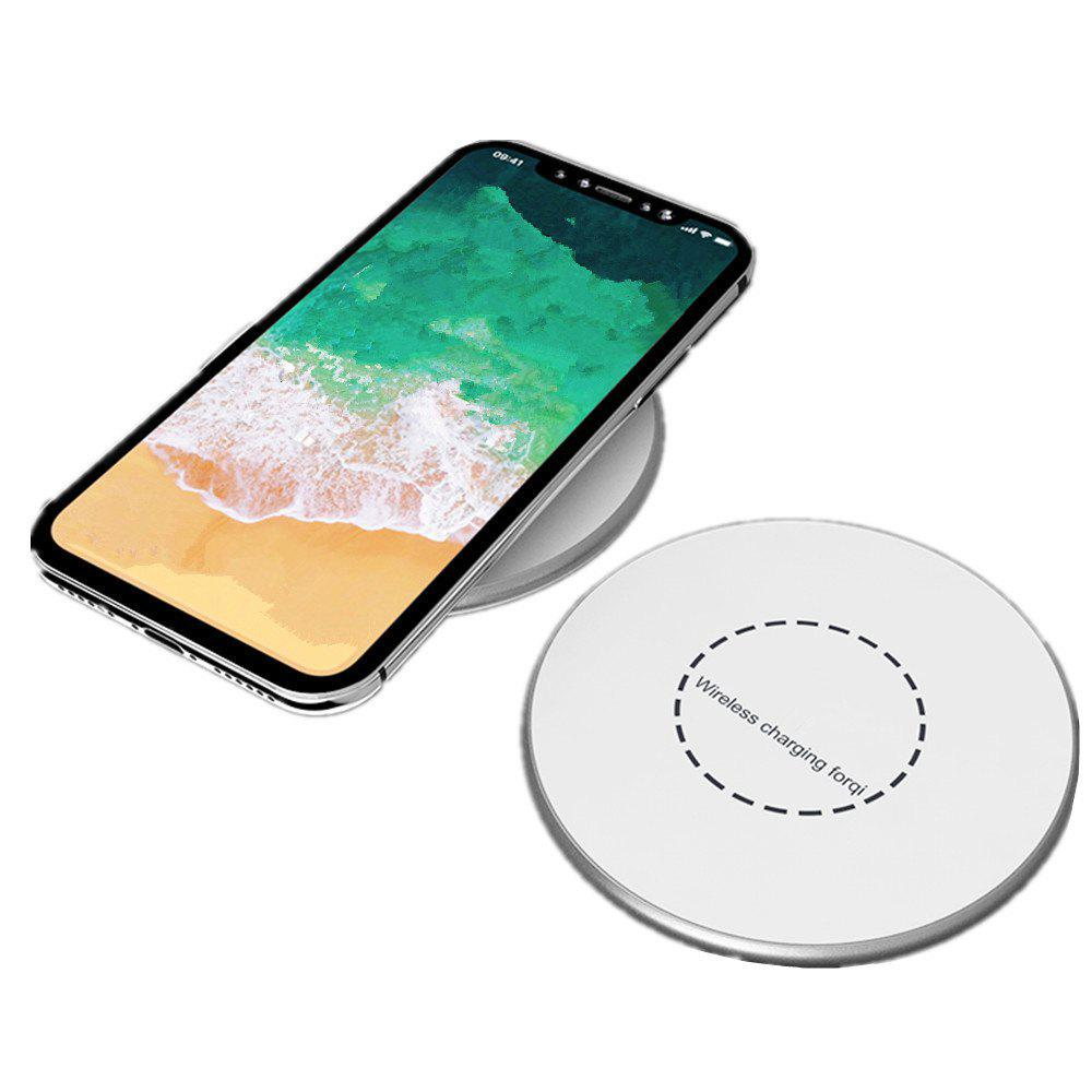 Portable Aluminum Alloy Wireless Charger Pad for iPhone X / 8/ 8 Plus / Samsung Galaxy Note 8 / S8 / S8Plus - WHITE