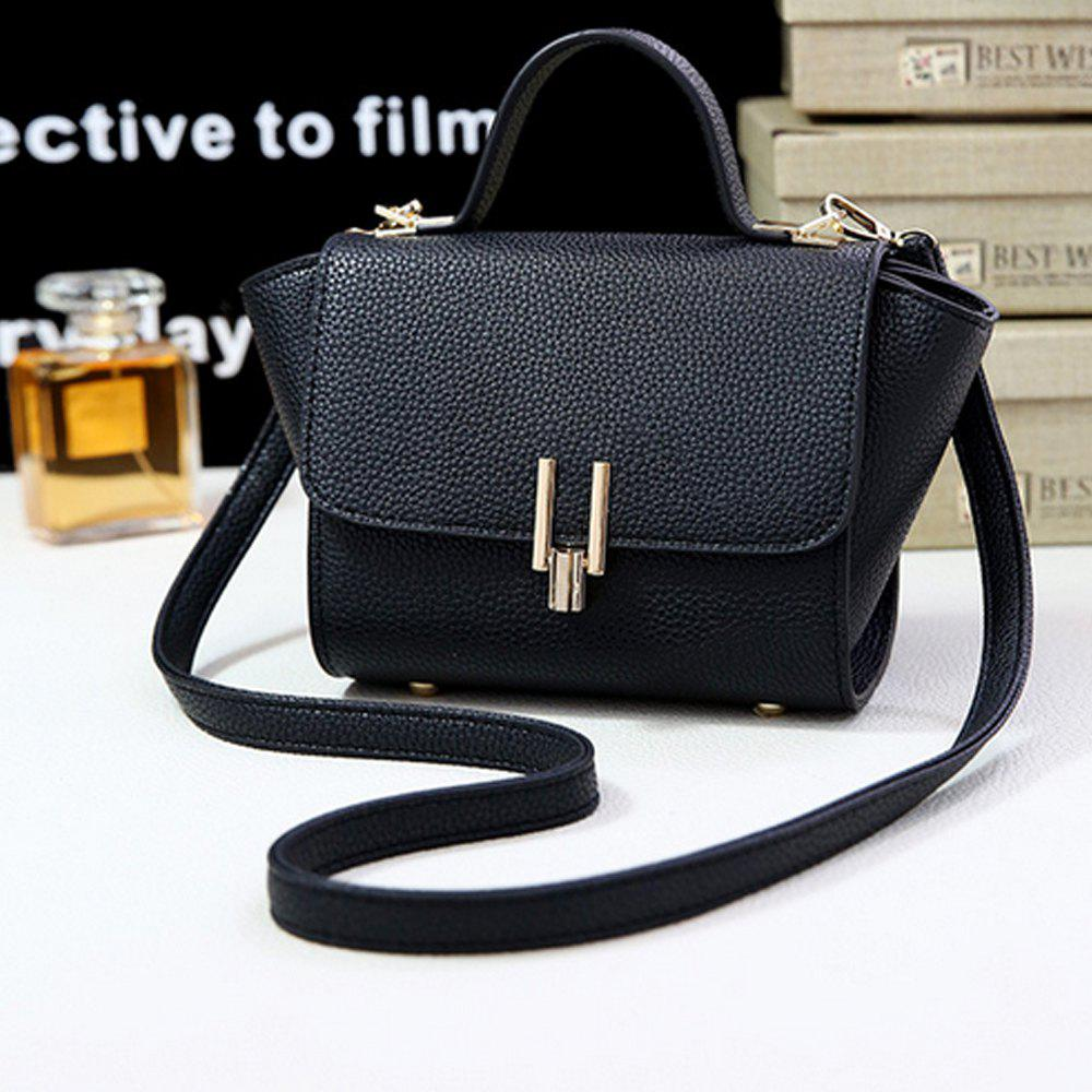 Women's Handbag Simple Solid Color Hasp Versatile Bag - BLACK