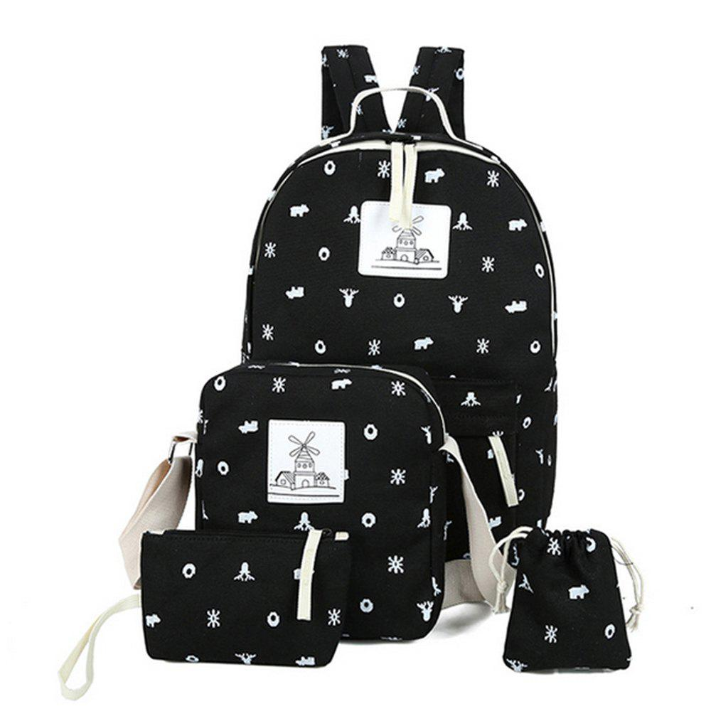 Girl's Backpack 4 Pcs Animal Pattern Canvas Kids Schoolbag - BLACK