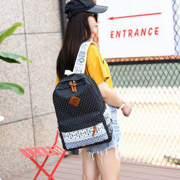 Backpack Dots Canvas 3 Pcs Kids Schoolbag - BLACK