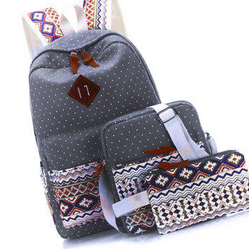 Backpack Dots Canvas 3 Pcs Kids Schoolbag - GRAY