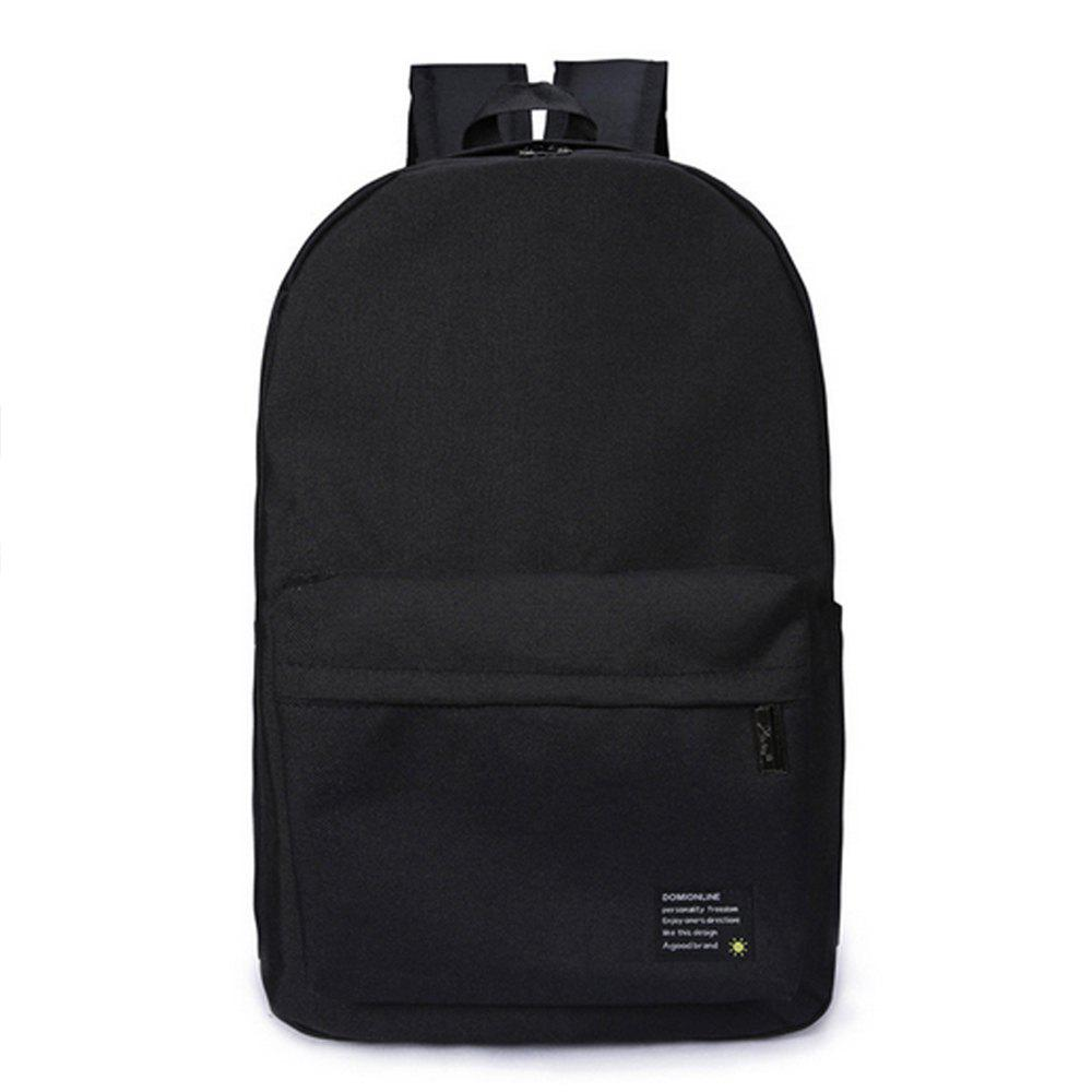 Men's Backpack Solid Color Casual Chic Large Capacity Schoolbag - BLACK