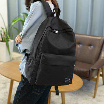 Men's Backpack Casual Simple Solid Color Travel Zipper Schoolbag -  BLACK