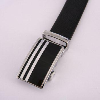 Men'S Steel Buckle Wear-Resistant PU Leather Belt - BLACK BLACK