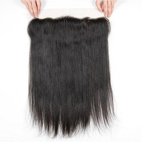 Free Part Human Hair Natural Hairline Straight Lace Frontal - BLACK 8INCH