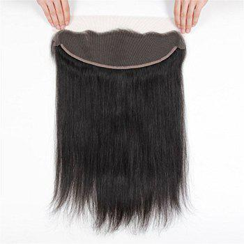 Free Part Human Hair Natural Hairline Straight Lace Frontal - BLACK 12INCH