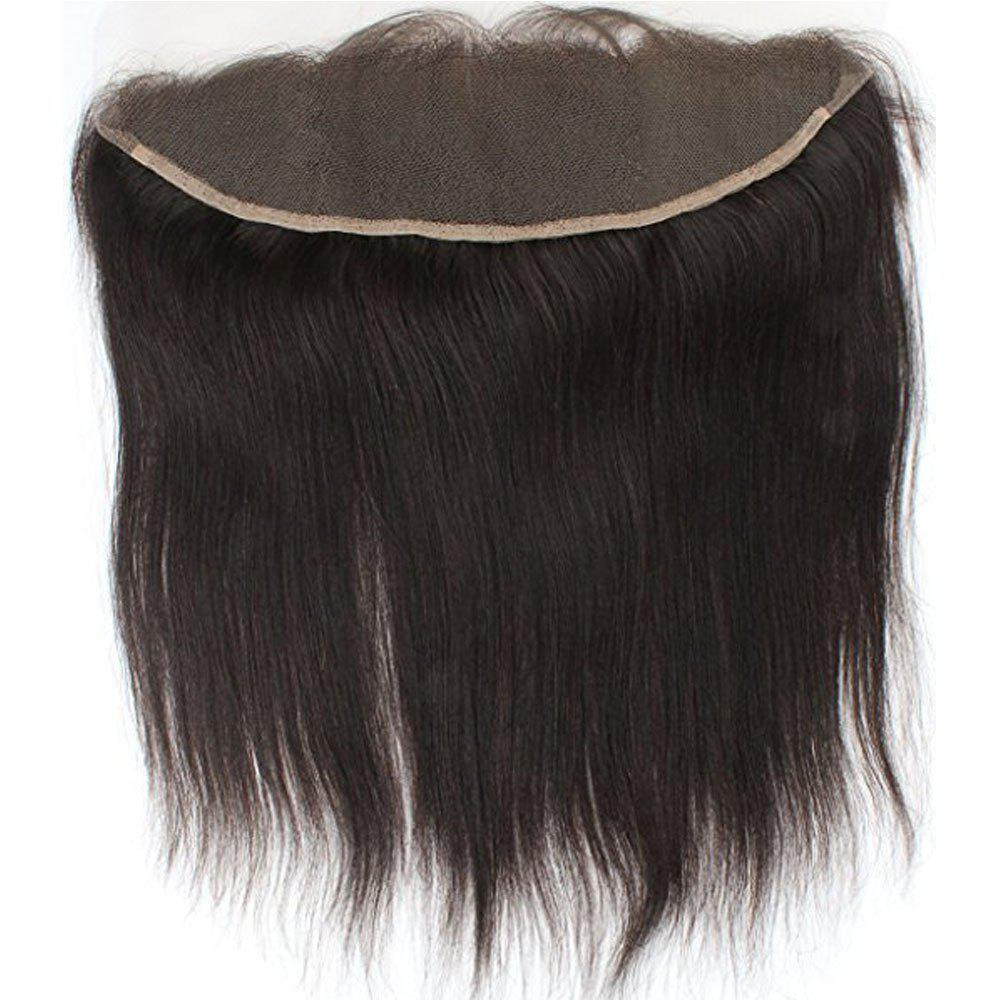 Free Part Human Hair Natural Hairline Straight Lace Frontal - BLACK 10INCH