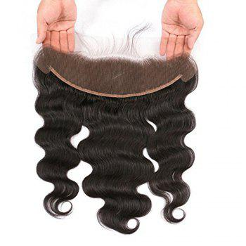 Lace Frontal Brazilian Body Wave Virgin Human Hair Free Part Natural Color Bleached Knots - BLACK 12INCH