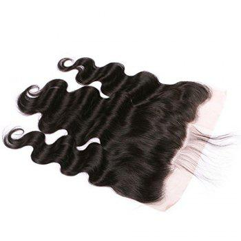 Lace Frontal Brazilian Body Wave Virgin Human Hair Free Part Natural Color Bleached Knots - BLACK 14INCH