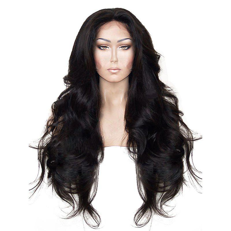 Long Natural Wavy Hair Synthetic Lace Front Wig Heat Resistant for Beauty Woman with Baby Hair - NATURAL BLACK 24INCH