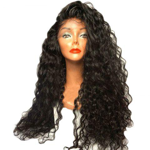 Long Loose Curl Hair Wigs Natural Black Color Synthetic Lace Front Wig with Baby Hair 24 inch 26 inch - NATURAL BLACK 24INCH