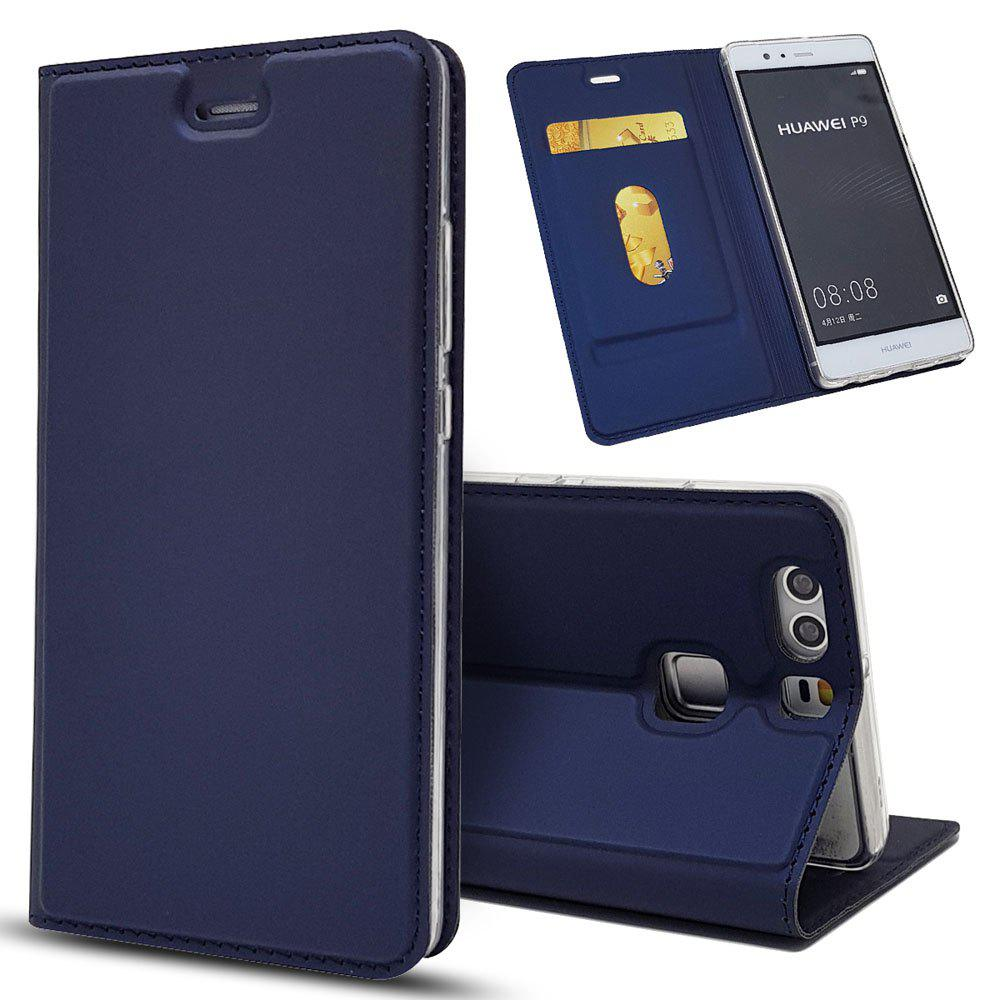 Leather Flip Case for Huawei P9 Wallet Funda Book Cover - BLUE