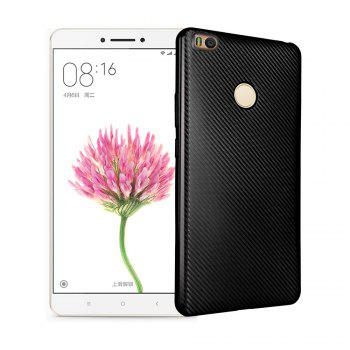 Electroplated Carbon Fiber Case for Xiaomi Max 2 TPU Soft Back Cover - BLACK BLACK
