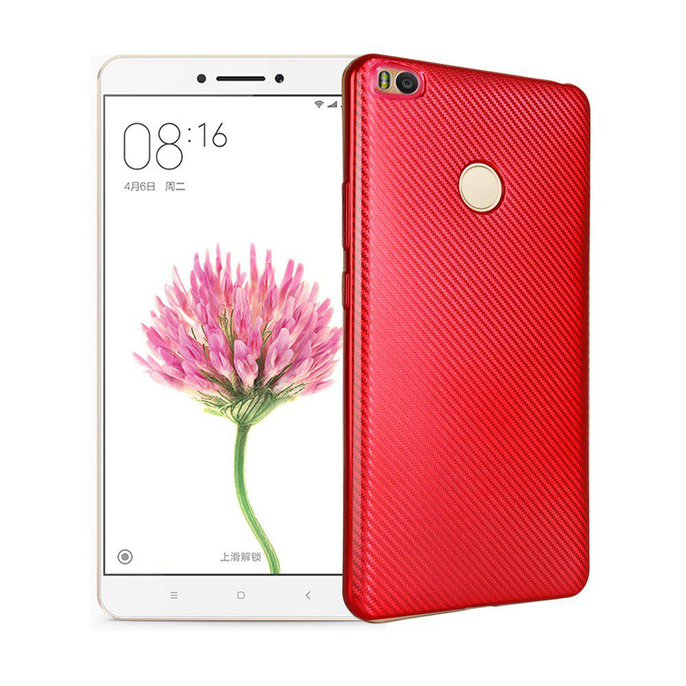 Electroplated Carbon Fiber Case for Xiaomi Max 2 TPU Soft Back Cover - RED