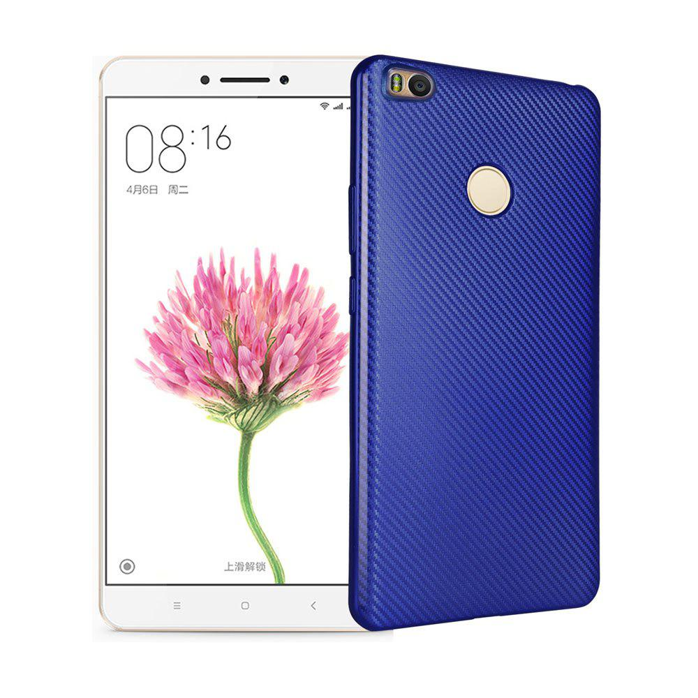 Electroplated Carbon Fiber Case for Xiaomi Max 2 TPU Soft Back Cover - BLUE