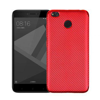Electroplated Carbon Fiber Case for Xiaomi Redmi 4X TPU Soft Back Cover - RED RED