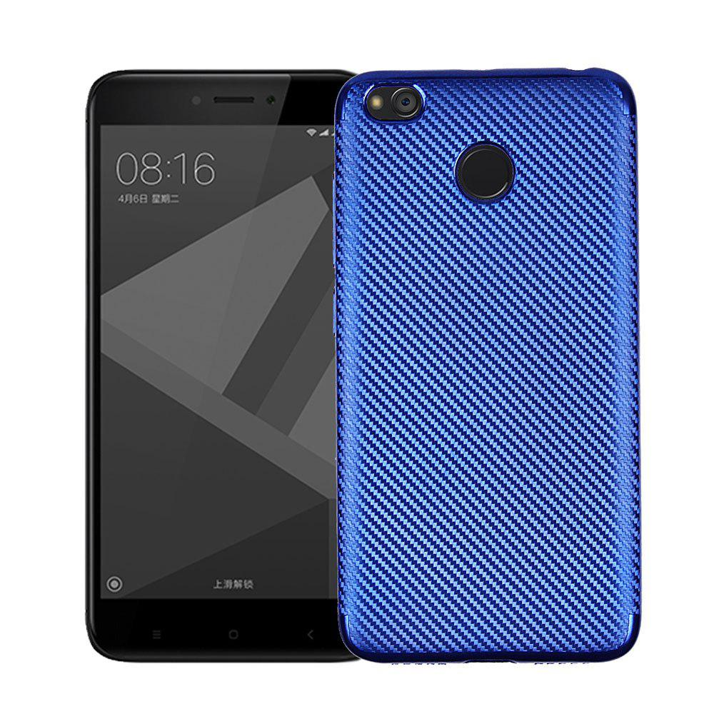 Electroplated Carbon Fiber Case for Xiaomi Redmi 4X TPU Soft Back Cover - BLUE