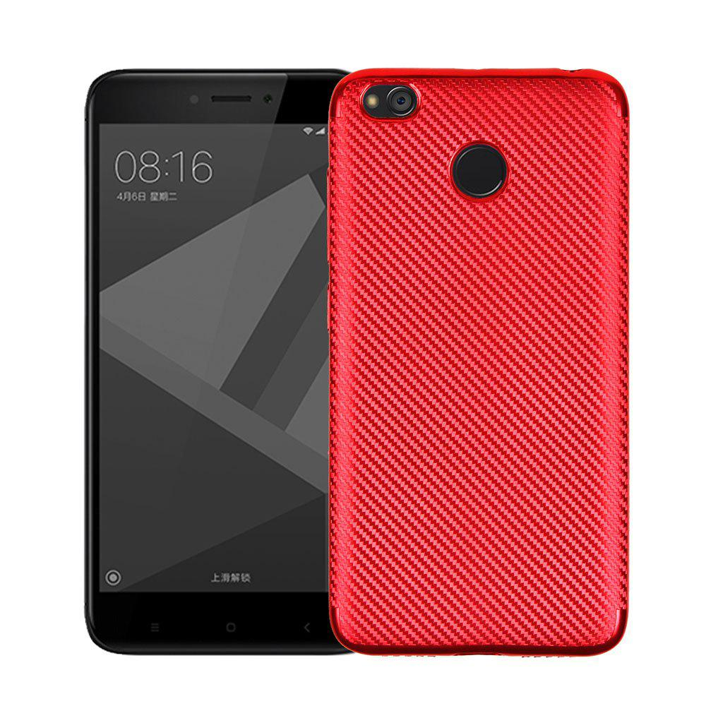 Electroplated Carbon Fiber Case for Xiaomi Redmi 4X TPU Soft Back Cover - RED