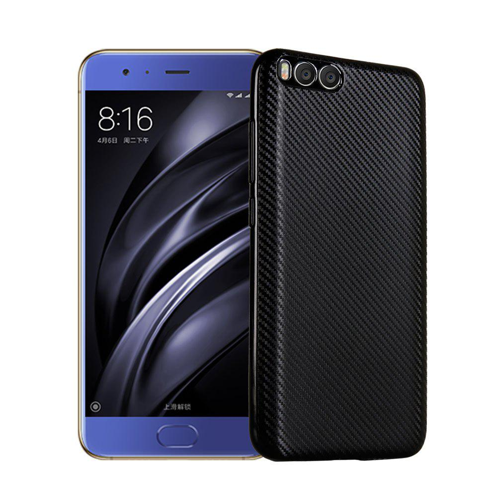 Electroplated Carbon Fiber Case for Xiaomi 6 TPU Soft Back Cover - BLACK