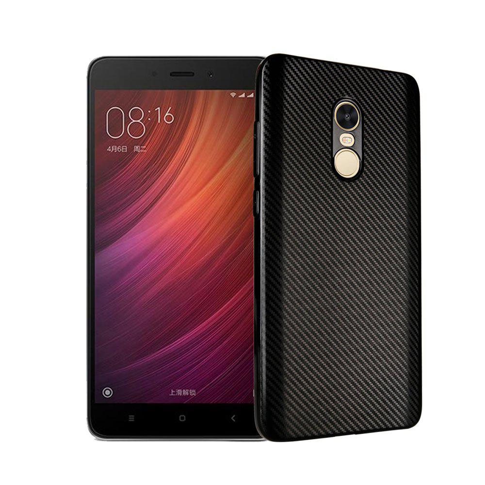 Electroplated Carbon Fiber Case for Xiaomi Redmi Note 4 / 4 Pro TPU Soft Back Cover - BLACK
