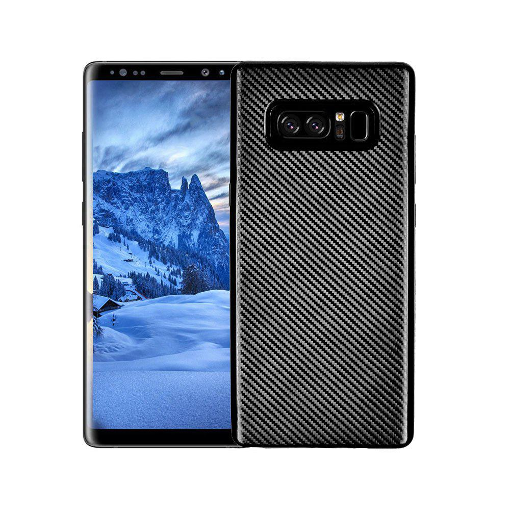 Electroplated Carbon Fiber Case for Samsung Galaxy Note 8 TPU Soft Back Cover - BLACK