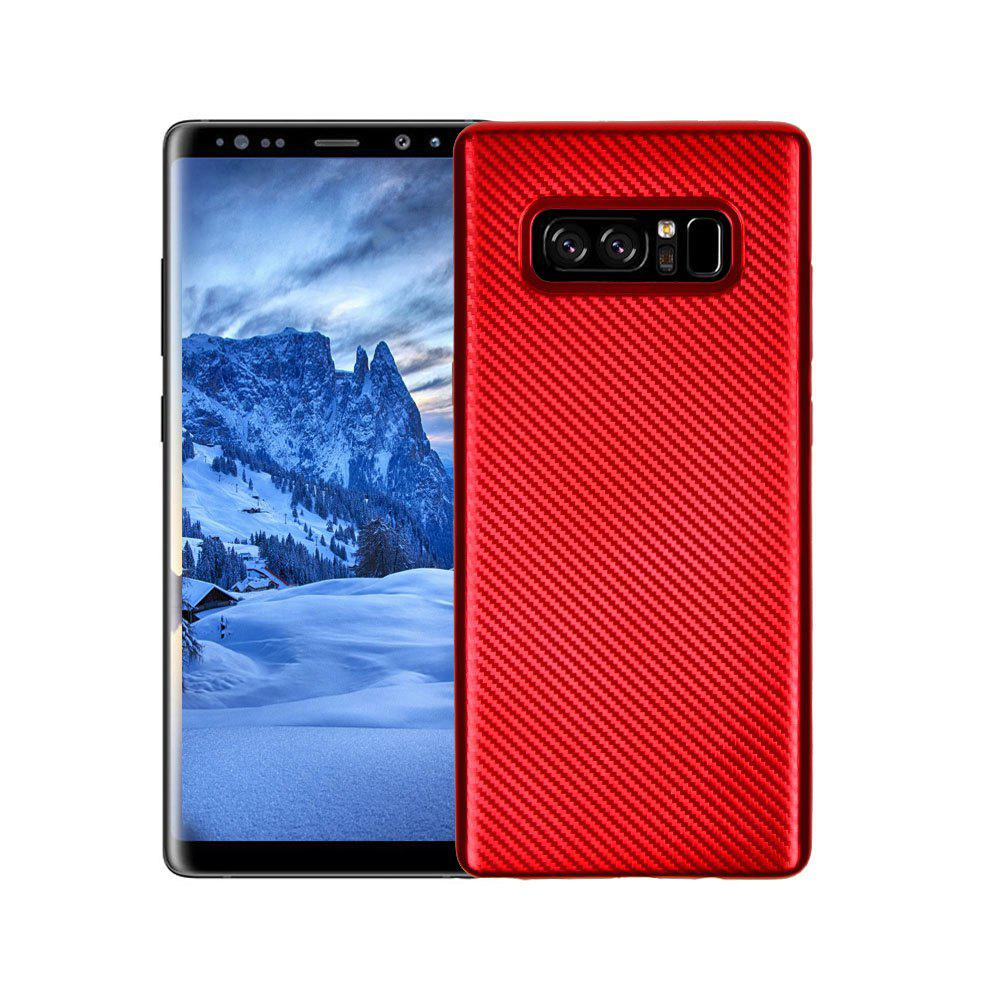 Electroplated Carbon Fiber Case for Samsung Galaxy Note 8 TPU Soft Back Cover - RED
