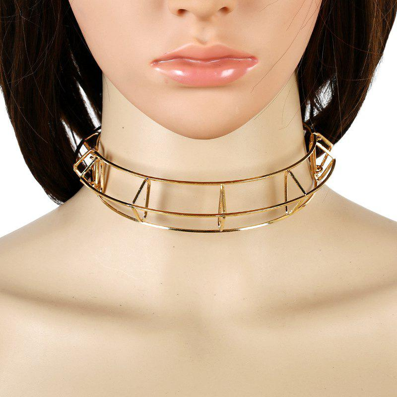 Women Girls Three-Dimensional Hollow Choker Fashion Metal Short Necklace Trendy Collar Fine Jewelry Gifts - GOLDEN