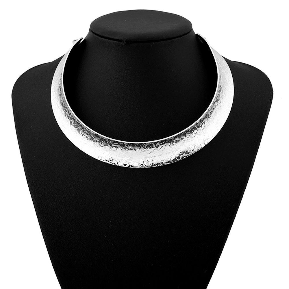 Women Girls Trendy Metal Choker Carved Short Necklace Fashion Collar Jewelry Gifts - SILVER