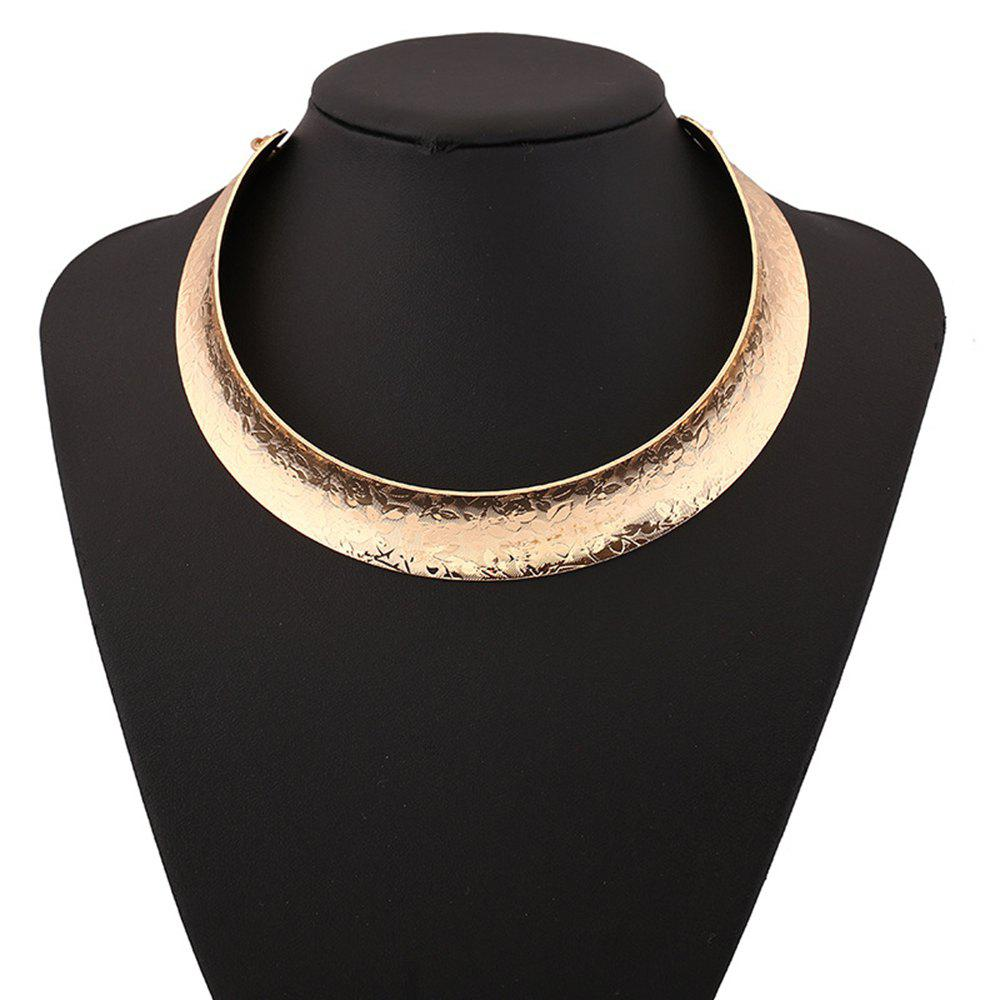 Women Girls Trendy Metal Choker Carved Short Necklace Fashion Collar Jewelry Gifts - GOLDEN