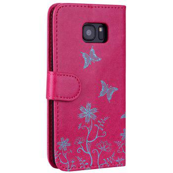 for Samsung Samsung Galaxy S7 Edge Butterfly Pattern PU Leather Wallet Flip Protective Case Cover with Card Slots - ROSE RED
