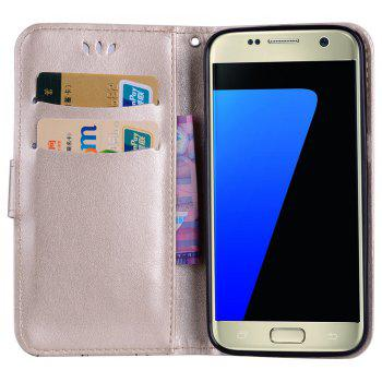 for Samsung Samsung Galaxy S7 Butterfly Pattern PU Leather Wallet Flip Protective Case Cover with Card Slots - GOLDEN