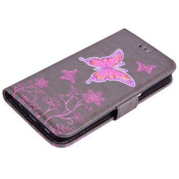 for Samsung Samsung Galaxy S7 Butterfly Pattern PU Leather Wallet Flip Protective Case Cover with Card Slots - GRAY