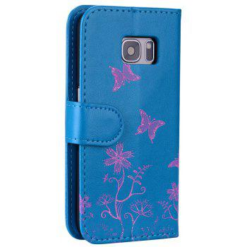 for Samsung Samsung Galaxy S7 Butterfly Pattern PU Leather Wallet Flip Protective Case Cover with Card Slots - BLUE