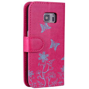 for Samsung Samsung Galaxy S7 Butterfly Pattern PU Leather Wallet Flip Protective Case Cover with Card Slots - ROSE RED