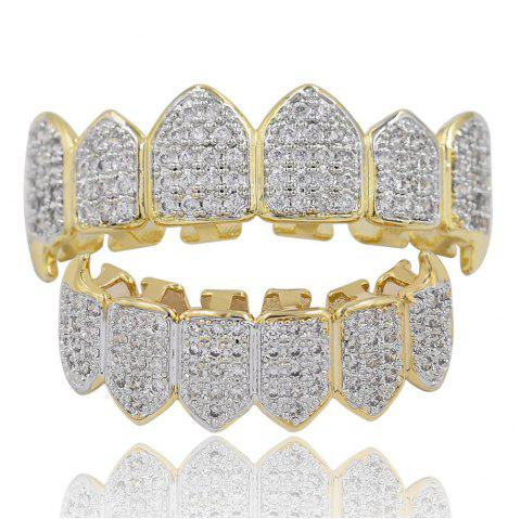 Dents crues de vampire de pierre de pavage de l'argent plaqué par or de 18K CZ Grillz - d/ 39;or
