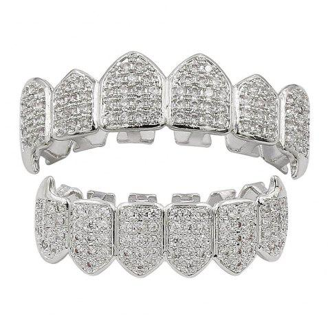 18K Gold Silver Plated Micro Pave CZ Stone Vampire Fangs Teeth Grillz - SILVER