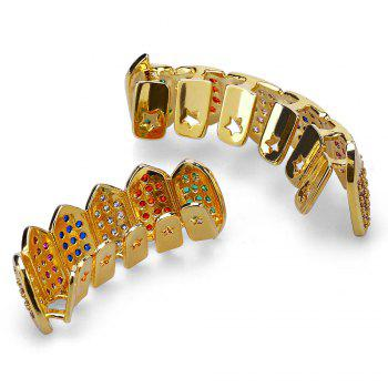 18K Gold Silver Plated Micro Pave CZ Stone Vampire Fangs Teeth Grillz - COLORFUL