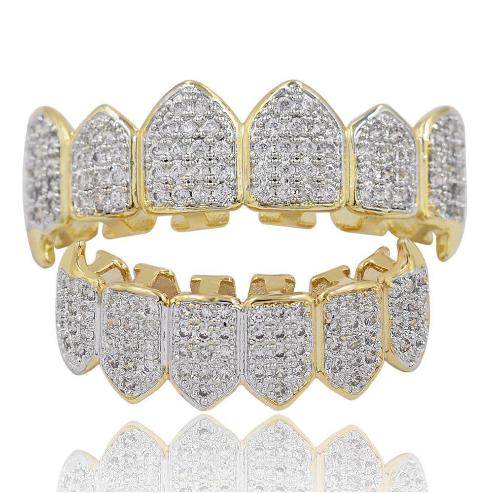 18K Gold Silver Plated Micro Pave CZ Stone Vampire Fangs Teeth Grillz - GOLDEN