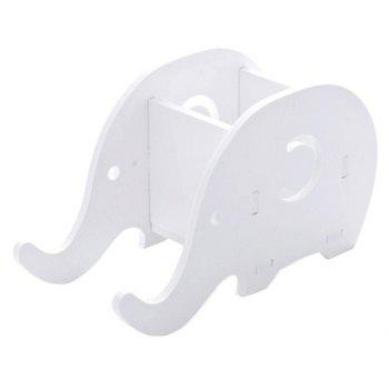 DIY Cute Elephant Phone Stents Rack Multi-function Office Pencil Case Wooden Storage Box - WHITE